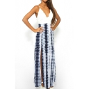 V-Neck Lace Top Tie Dye Print Sexy Slip Maxi Dress