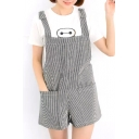 Vertical Stripe Double Pockets Concise Overalls