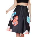 Black Background Floral Print Pleated Fitted Fit And Flare Skirt