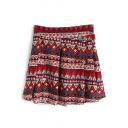 Red Geo-Tribal Pattern Pleated Skirt