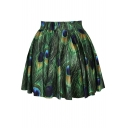 Fashionable Nature Print High Waist Pleated Mini Skirt