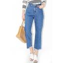 Blue High Waist Cropped Wide Leg Jeans