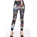 Vintage Egyptian Beauty Print High Waist Skinny Leggings