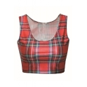Sleeveless England Plaid Print Scoop Neck Crop Tank
