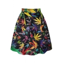 Summer Maple Print Tie Dye A-Line Skirt