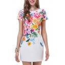 White Flower Print Short Sleeve Fitted Dress