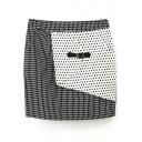 Mono Polka Dot Buckle Embellish Bodycon Skirt