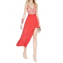 Red High Waist Asymmetric Ruffle Hem Sexy Longline Skirt