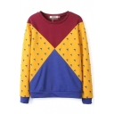 Color Block V Print Round Neck Sweatshirt