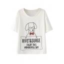 Wearing Glasses Dog Print Cute T-Shirt