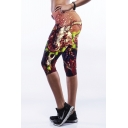 Brown High Waist 3D Floral Print Workout Capris