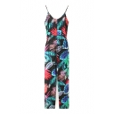 Floral Print Spaghetti Straps Open Back Jumpsuits