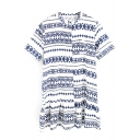 Navy Geometry Ethnic Pattern Shirt Dress