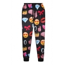 High Waist Loose Leg Emoji Print Pants