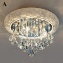 Traditional Round Shape Crystal Flush Mount Light or Pendant
