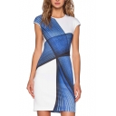Geometric Print Cap Sleeve Round Neck Fitted Dress