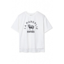 Letter and Animal Print Tee with Asymmetrical Hem