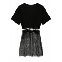 Plain Short Sleeve Top with Mesh Skirt Co-ords