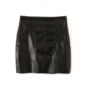 Black Double Pocket Zipper Fly PU Skirt