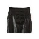 Black Double Pocket Zipper Fly PU Skirt