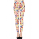 Colorful Floral Print High Waist Skinny Leggings
