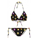 Black Emoji Print Halter with String Bikini Set