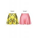 Summer Plaid Print Loose Wide Leg Culottes