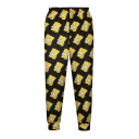 Black High Elastic Waist Cartoon Simpson Print Pants