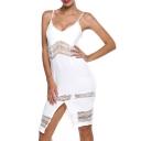 White Cutout Spaghetti Strap Split Front Dress