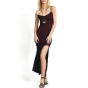 Black Spaghetti Strap Fitted Maxi Dress with Split