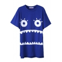 Cartoon Face Print Short Sleeve Slim Dress