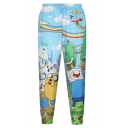 High Waist Adventure Time Print Pencil Pants