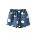 Blue Background Daisy Print Denim Loose Shorts