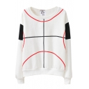 Straight Line Curve Print Color Block Round Neck Sweatshirt