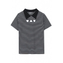 Black Point Lapel Stripe Heart Print T-Shirt