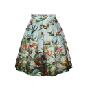 Birds Print High Waist A-Line Midi Skirt