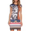 Abstract Round Neck Cap Sleeve Fitted Sheath Dress