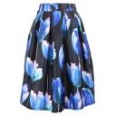 Tulip Print Elastic Waist Pleated Midi Skirt