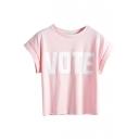 Vote Print Crew Neck Short Sleeve T-Shirt
