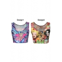 Multi Color Character Animal Print Crop Tank