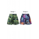 Stylish Floral and Peacock Feathers Print High Waist Culottes