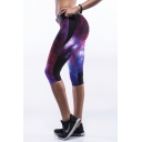 Purple Galaxy Print High Waist Fitted Crop Capris