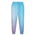 Blue Ombre Floral Print Elastic Waist Pants