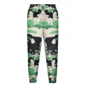 High Waist Camouflage Print Elastic Waist Pants
