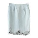 Light Blue Crochet Hem Double Pocket Denim Skirt