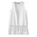 White Open Front Lace Hem Fitted Vest