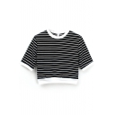 1/2 Sleeve Stripe Crop T-Shirt