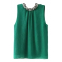 Twist Neckline Sleeveless Blouse
