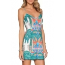 Green Palm Trees Print Slip Rompers
