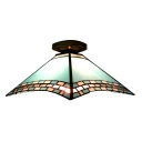Mediterranean Style Romantic Blue Tiffany Semi Flush Mount Ceiling Light